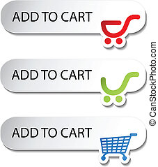 achats, -, charrette, boutons, article, ajouter, vecteur