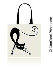 achats, chat, sac, noir, gracieux, conception