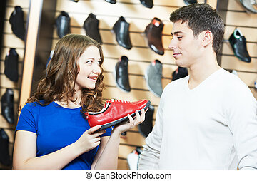 achats, chaussures, magasin, chaussures