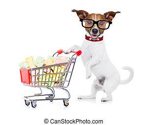achats, chien, charrette
