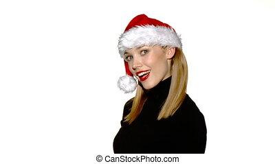 achats, claus, sac, santa, sexy, girl, chapeau