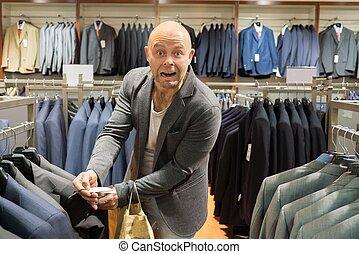 achats, coût, deux âges, veste, centre commercial, stupéfié, homme