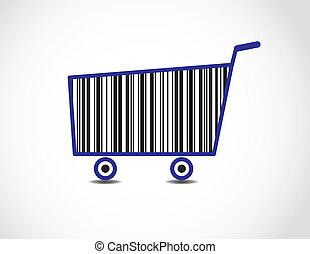 achats, code, illustration, charrette, barre