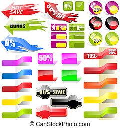 achats, collection, étiquettes