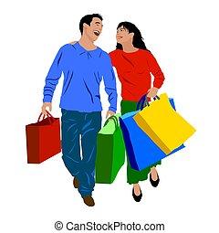 achats, coloré, gens