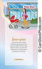 achats, concept, marchandises, bébé, enfants, magasin