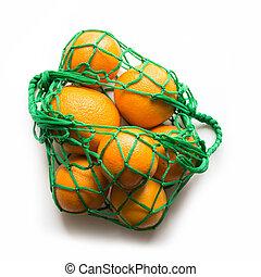 achats, concept., sac, zéro, orange., gaspillage