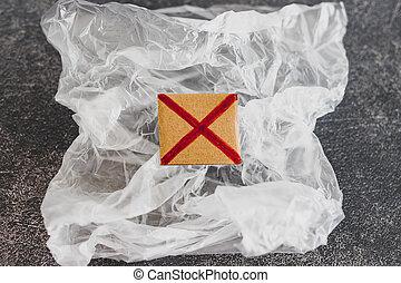 achats, concept, single-use, croix, sac plastique, rouges, pollution