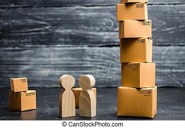achats, concept, transport, professionnels, monday., kibber, vente, friday., affaire, livraison, noir, stand, boxes., ligne, services, goods., carton, tour, parler