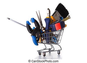 achats, construction, quelques-uns, outils
