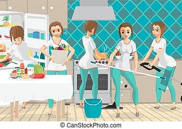 achats, cooking., femme, même, épouse, choses, illustration, kitchen., nettoyage, vecteur, plat, femme foyer, temps, plusieurs, super, dessin animé