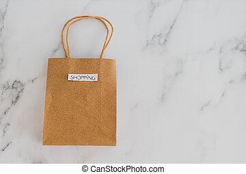 achats, copyspace, flatlay, sommet, sac, table, marbre