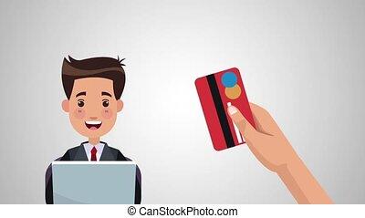 achats, crédit, animation, carte, ligne, hd