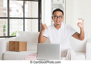 achats, crédit, asiatique, ligne, seul, mâle, carte