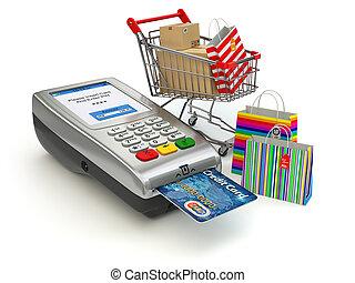 achats, crédit, concept., pos, charrette, terminal, sac, ...