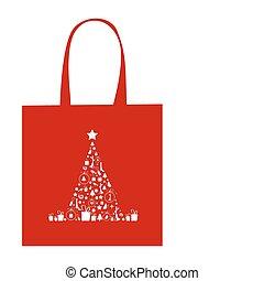 achats, décoration, arbre, sac, conception, noël
