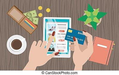 achats, desktop., ligne