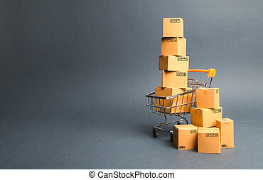 achats, e-commerce, commerce, charrette, par, order., supermarché, ligne commerçant, livraison, vente, shopping., marchandises, puissance, ventes, platforms., products., boxes., achat, concept