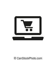 achats en ligne, blanc, arrière-plan., icône