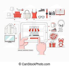 achats en ligne, concept., magasins