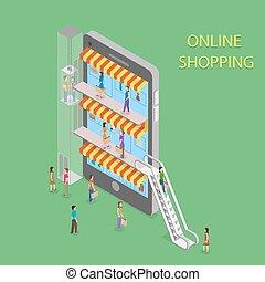 achats en ligne, isométrique, concept, illustration.