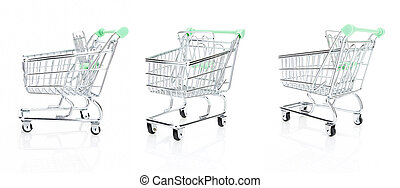 achats, ensemble, isolé, charrette, fond, blanc, vide