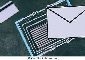 achats, enveloppe, charrette, email, béton, bureau, paiement, carte