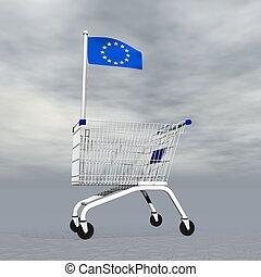 achats, européen, -, render, 3d