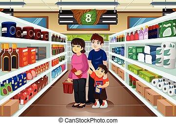 achats, famille, ensemble