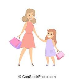 achats, famille, ensemble, heureux