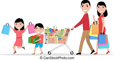 achats, famille, supermarché, vecteur, dessin animé, heureux
