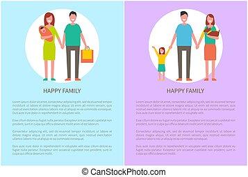 achats, famille, vecteur, parents, girl, heureux