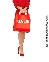 achats femme, élevé, sac, tenue, talons