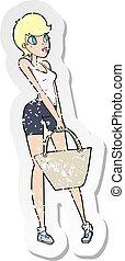 achats femme, affligé, autocollant, retro, dessin animé, séduisant