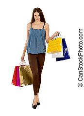 achats femme, beauté, longueur pleine, mode, portrait., w, modèle, girl