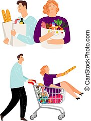 achats femme, charrette, homme, gens