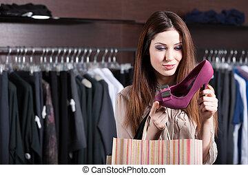 achats femme, chaussures, fuchsia, excellent, regards, centre