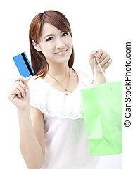 achats femme, crédit, jeune, sac, tenue, carte