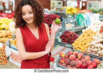 achats femme, fruits