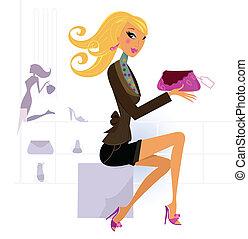 achats femme, heureux, centre commercial, sac, blonds, beau