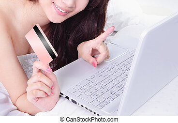 achats femme, ordinateur portable, crédit, ligne, carte