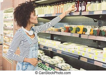 achats, femme, organique, jeune, agréable, confection, magasin