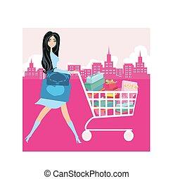 achats femme, pousser, carte