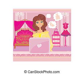 achats femme, séance, ordinateur portable, -, jeune, ligne, sourire