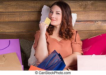 achats femme, sacs, après, lit, banque, carte papier