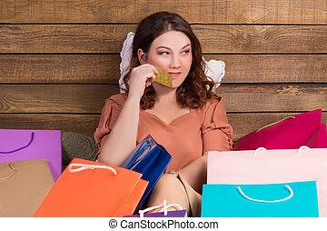 achats femme, sacs, après, lit, banque papier, carte