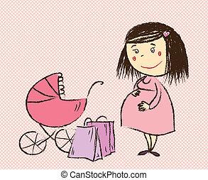 achats femme, va, pregnant