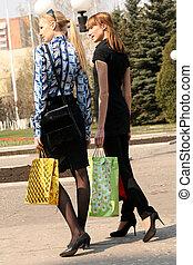 achats, femmes, marche, rue