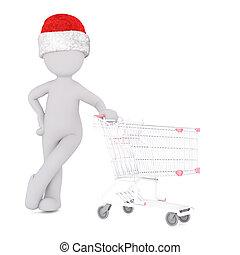 achats, figure, sur, charrette, chapeau blanc, 3d