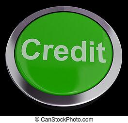 achats, finance, prêt, crédit, bouton, représenter, ou